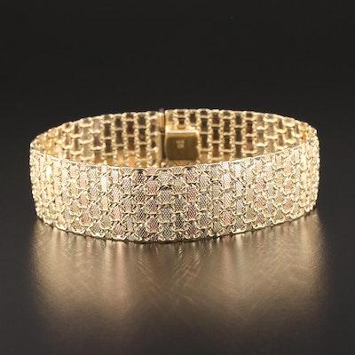 14K Yellow, White and Rose Gold Flexible Bracelet with Diamond Cut Finish