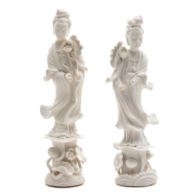 Chinese Blanc de Chine Style Chalkware Guanyin Figurines