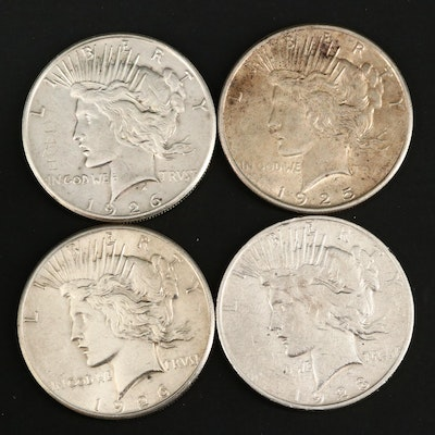 1925, 1926, 1926-S and 1928-S Peace Silver Dollars