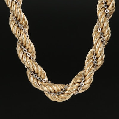 14K Yellow Gold Rope Necklace with White Gold Cable Chain Accent