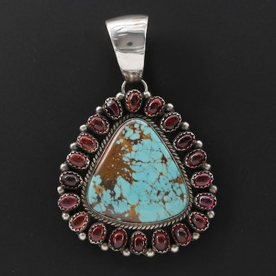Southwestern Style Sterling Silver Turquoise and Garnet Pendant