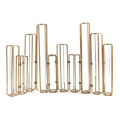 Contemporary Hinged Metal with Glass Tube Bud Vase Décor Set