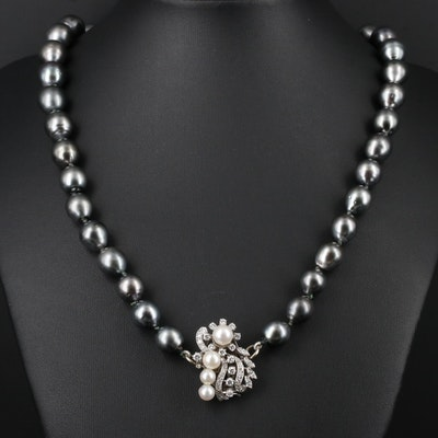 14K White Gold Culture Pearl and 1.04 CTW Diamond Necklace