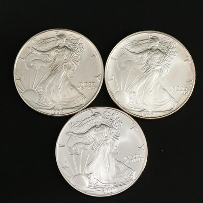 Three American Silver Eagle Bullion Coins, Including Two Better Dates