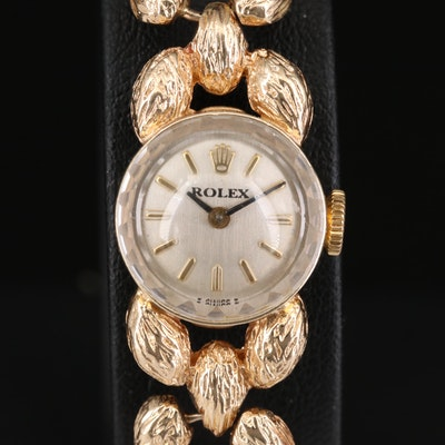 Vintage Rolex Cocktail 14K Gold Stem Wind Wristwatch