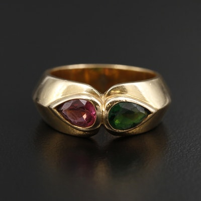 18K Yellow Gold Tourmaline Knife Edge Ring