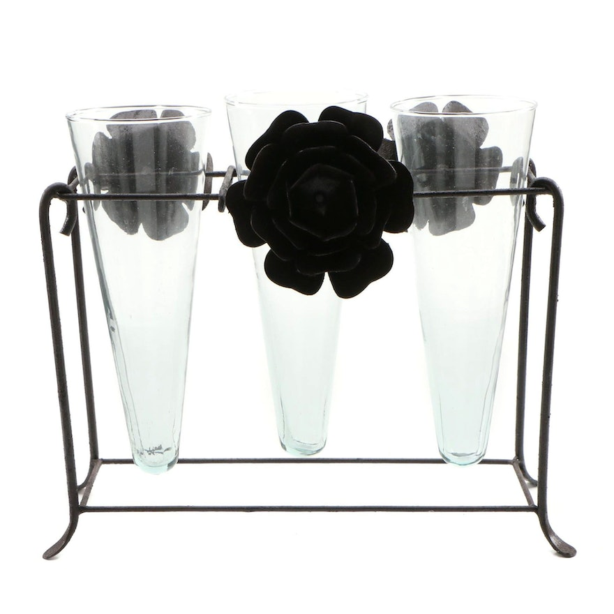 Contemporary Metal Frame Trumpet Glass Vase Set