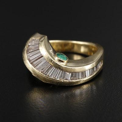 18K Yellow Gold Emerald and 1.55 CTW Diamond Ring
