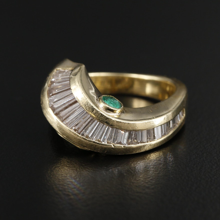 18K Yellow Gold Emerald and 1.55 CTW Diamond Ring