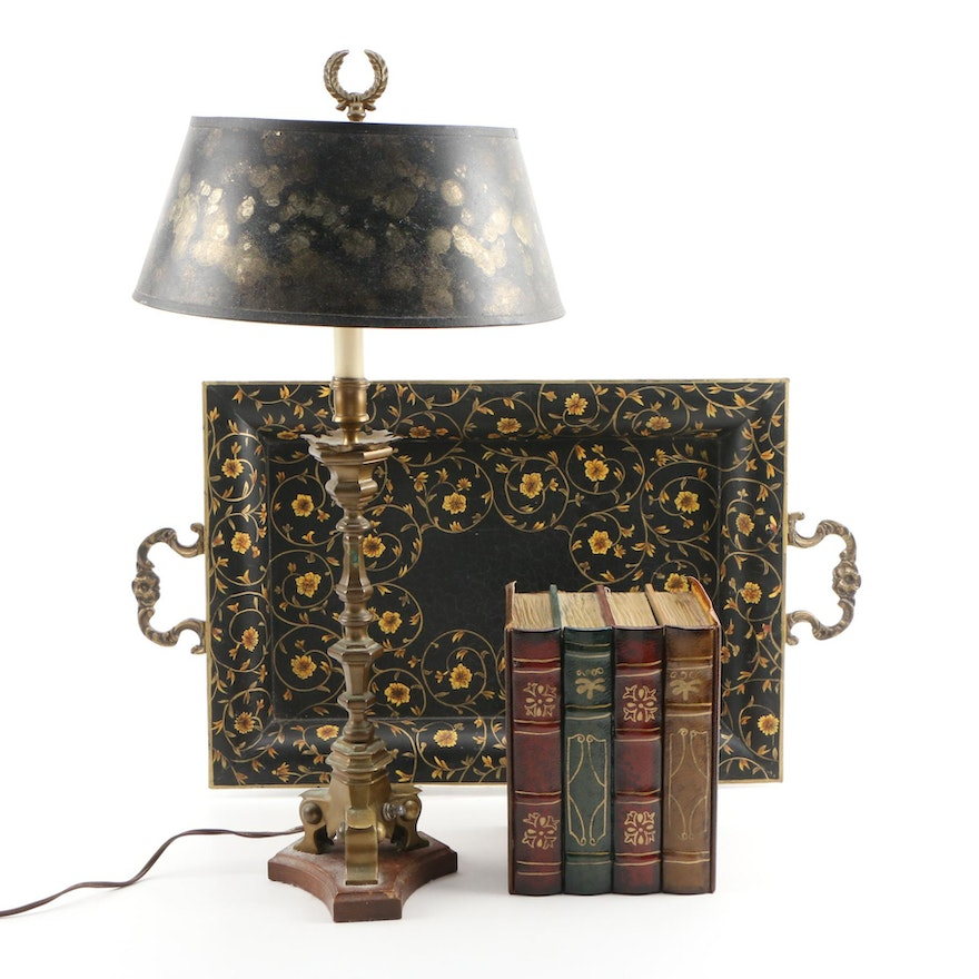 Painted Floral Tray, with Black and Gold Table Lamp and Faux Books Décor