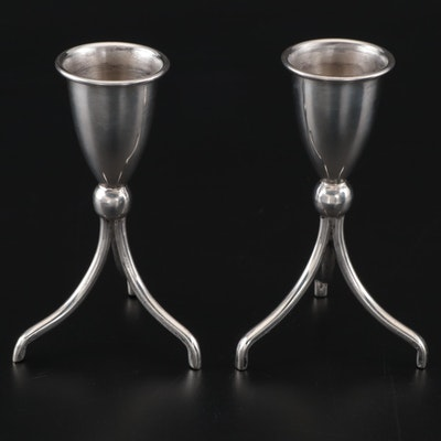 Pair of Mexican Mid Century Modern Sterling Candle Holders