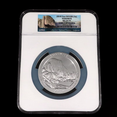 NGC Graded MS69 PL 2010 Yosemite America the Beautiful 5 Oz. Fine Silver Coin
