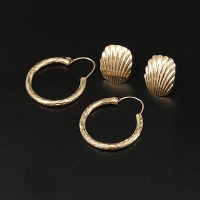 14K Yellow Gold Diamond Cut Hoop and Sea Shell Motif Earrings