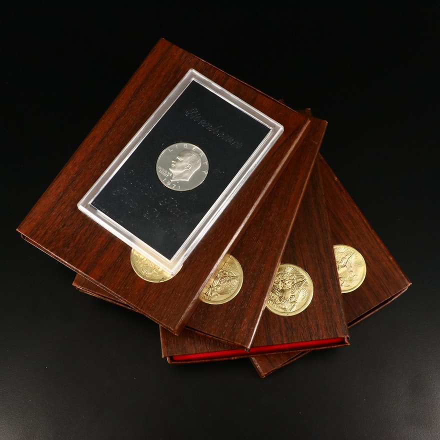 Five Eisenhower Proof Silver Dollars, 1971 to 1973