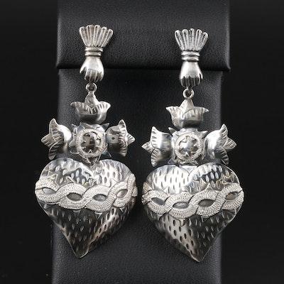 Mexican Carlos Gutierrez Sterling Silver Sacred Heart Motif Dangle Earrings