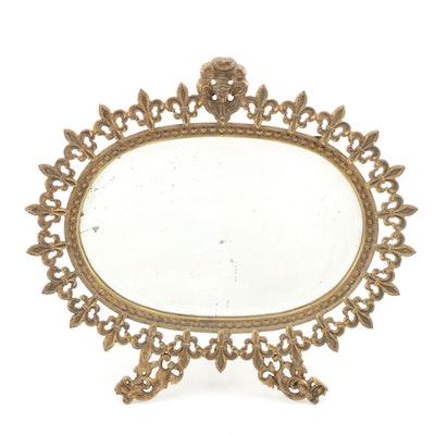 French Fleur-de-lis Cast Brass Beveled Accent Mirror, Vintage
