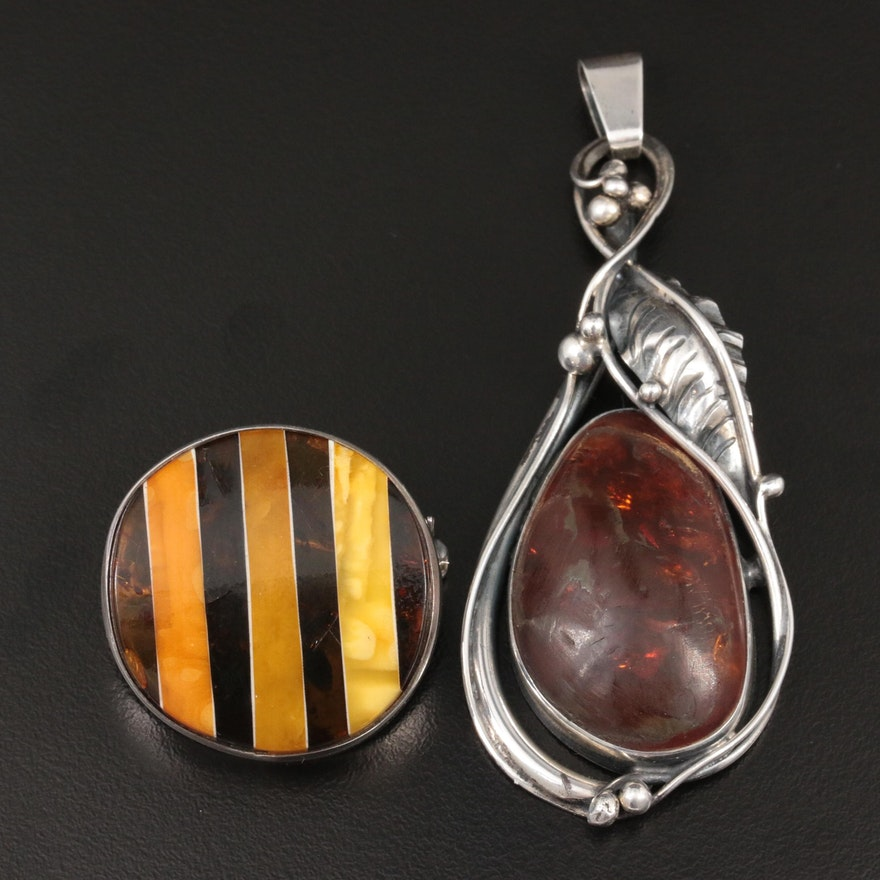 Sterling Silver Amber Converter Brooch and Pendant