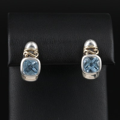 Vanessa Michaels Sterling Topaz Earrings with 14K Accents
