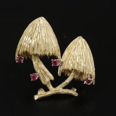 Vintage 18K Gold Ruby Mushroom Brooch