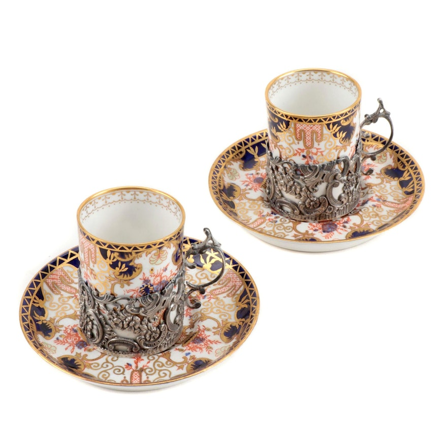 Royal Crown Derby Imari Style Demitasse Cups with Sterling Zarfs, 1910