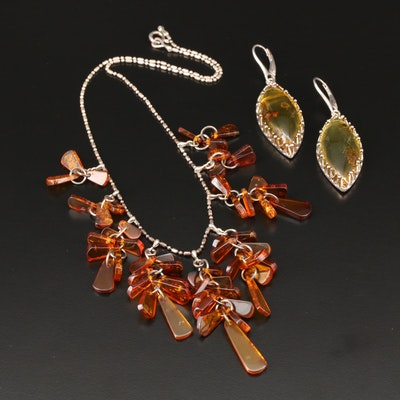 Sterling Silver Amber Earrings and Necklace