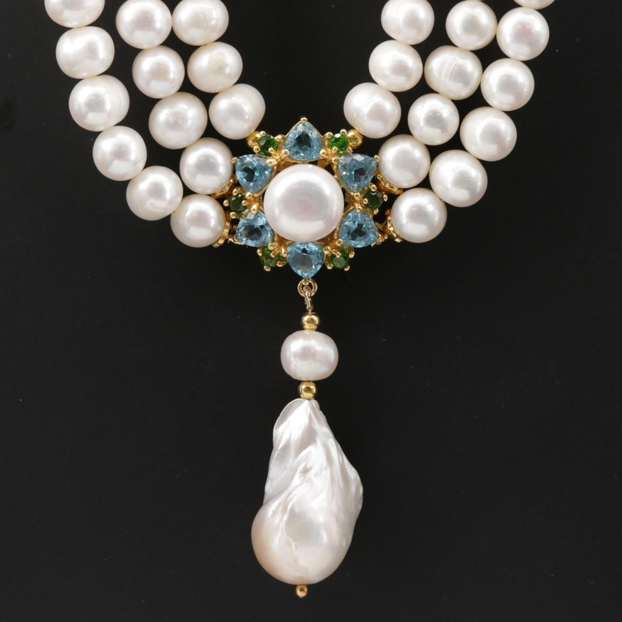 Pearl, Blue Topaz and Chrome Diopside Festoon Necklace with Sterling Closure