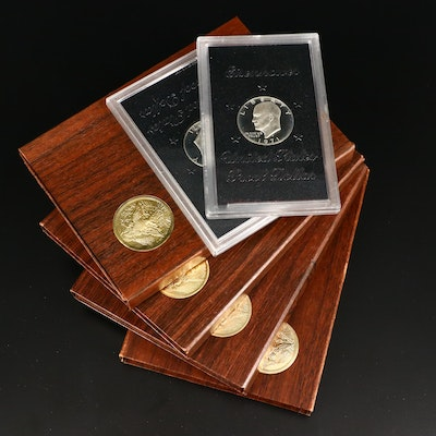 Six Eisenhower Proof Silver Dollars, 1971 to 1974