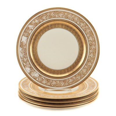 Heinrich & Co. Encrusted Ivory Porcelain Dinner Plates, Early to Mid-20th C.