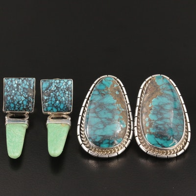 Southwestern Sterling Silver Turquoise and Variscite Earrings