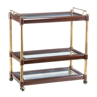 Mahogany and Glass Tiered Bar Cart, Late 20th Century