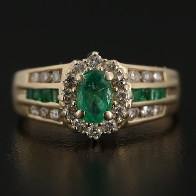 14K Yellow Gold Emerald and Diamond Oval Halo Ring