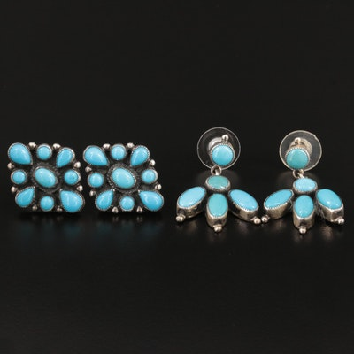 Don Lucas and Leo Feeney Sterling Silver Turquoise Earrings