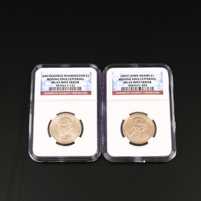 Two NGC Graded MS65 Presidential Dollar Error Coins