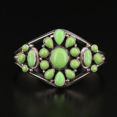 Roie Jaque Navajo Diné Sterling Silver Gaspeite Bracelet
