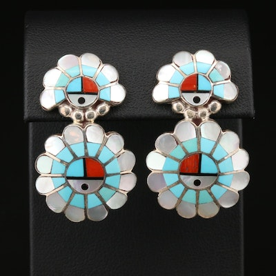 Larry & Lorinda Dickson Zuni Sunface Sterling Silver Assorted Gemstone Earrings