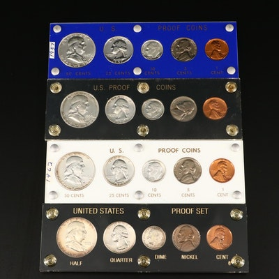 Four U.S. Type coin proof sets, 1957 to 1963