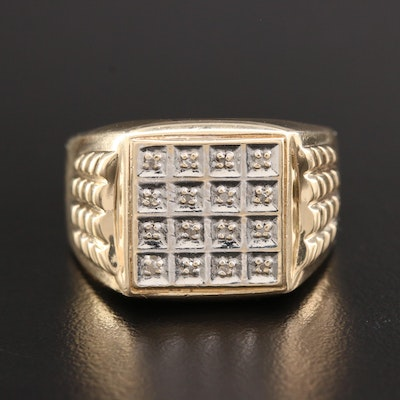 10K Yellow Gold Diamond Ring With Block Motif