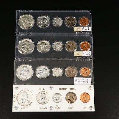 Four U.S. Type Coin Proof Sets, 1957 to 1961