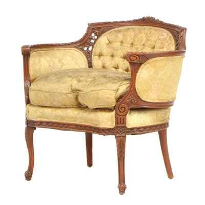 Louis XV Style Beech Wood Button Tufted Upholstered Arm Chair, Early 20 Century