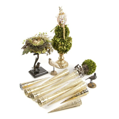 Spring Topiary Tree with Egg in the Nest Table Decor and Gilt Chandelier Vases