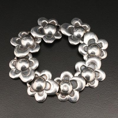 Sterling Silver Flower Motif Bracelet