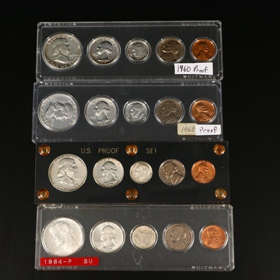 Four U.S. Type Coin Proof and Uncirculated Sets, 1960 to 1964