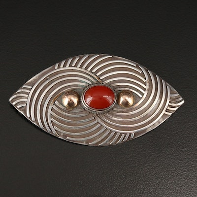 Sterling Silver Carnelian Brooch with Gold Accents