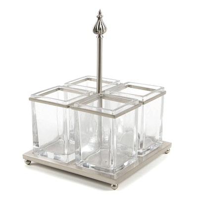 Contemporary Metal and Glass Decorative Quadrant Table Centerpiece