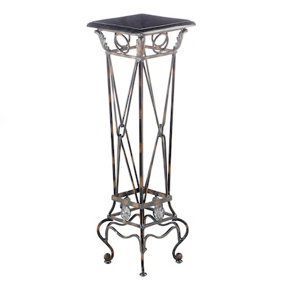 Neoclassical Style Wrought Metal and Marble Plant Stand, Late 20th Century