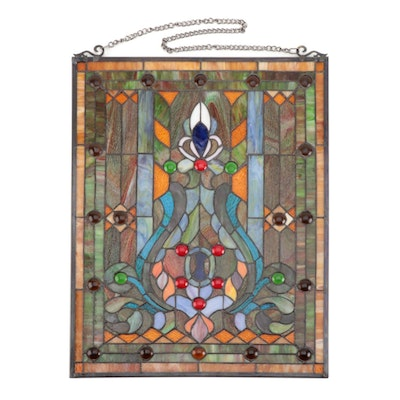 Art Nouveau Style Stained Glass Panel