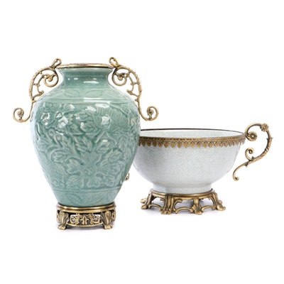 Porcelain Centerpiece on Metal Stand and Porcelain Urn, Contemporary