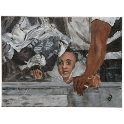 "Zofia Wilamowska Acrylic Painting ""Safe With Dad"""