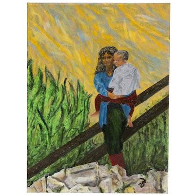 """Zofia Wilamowska Acrylic Painting """"Far Away From Home"""""""