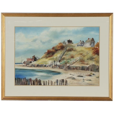 "Max Squires Watercolor Painting ""Chatham Beach"""